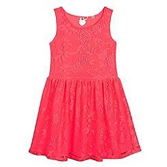 bluezoo - Girl's bright pink lace dress