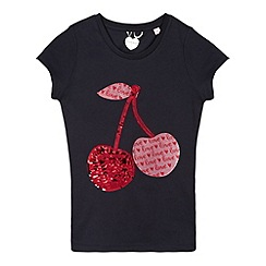 bluezoo - Girl's navy sequin cherries t-shirt