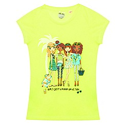 bluezoo - Girl's lime tropical girls print top