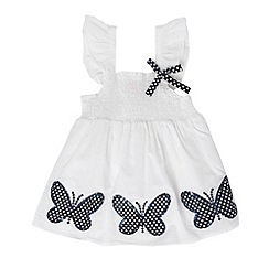bluezoo - Girl's white woven butterfly top