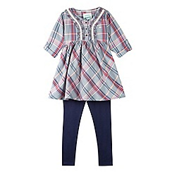 Mantaray - Girl's grey checked tunic and leggings set