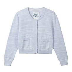 Mantaray - Girl's blue knitted marl cardigan