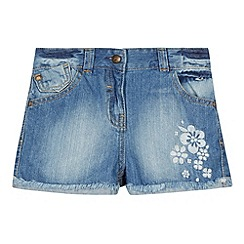 Mantaray - Girl's blue denim embroidered shorts