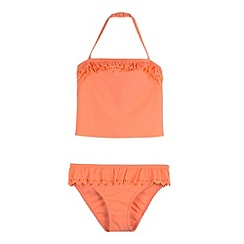 Mantaray - Girl's orange scallop trim tankini set