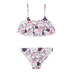 Mantaray - Girl's white ditsy floral tankini set