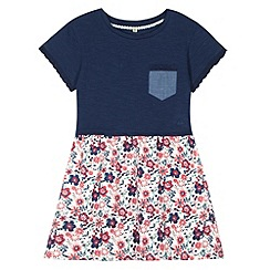 Mantaray - Girl's navy mock 2-in-1 floral dress