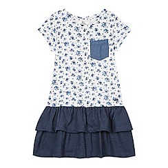 Mantaray - Girl's navy floral layered t-shirt dress