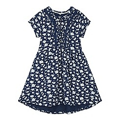 Mantaray - Girl's navy floral shirt dress