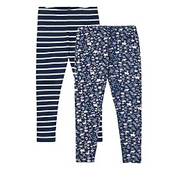 Mantaray - Pack of two girl's navy striped and floral leggings