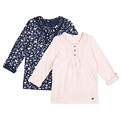 Mantaray - Pack of two girl's navy floral and pink striped tops