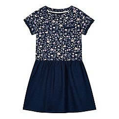 Mantaray - Girl's navy 2-in-1 floral dress