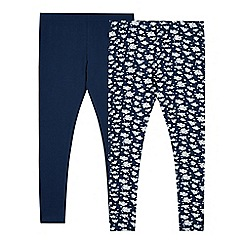 Mantaray - Pack of two girl's navy plain and floral leggings