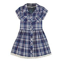 Mantaray - Girl's navy checked shirt dress