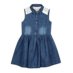 Mantaray - Girl's mid blue denim lace dress