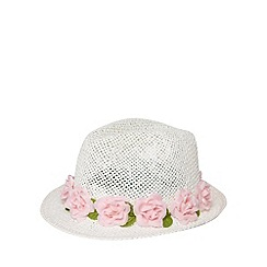 Mantaray - Girl's flower trim straw trilby