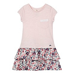 Mantaray - Girl's pink floral layered t-shirt dress