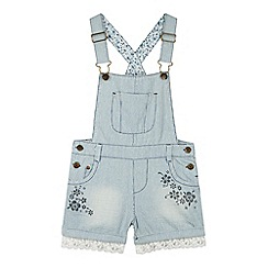 Mantaray - Girl's blue striped dungaree shorts