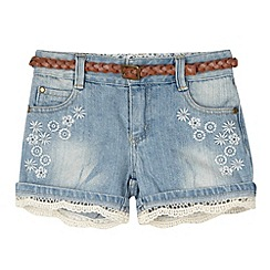 Mantaray - Girl's blue belted floral denim shorts