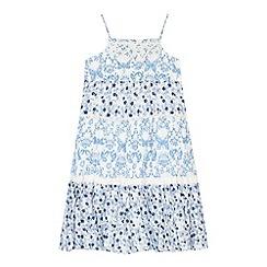 Mantaray - Girl's blue tiered maxi dress