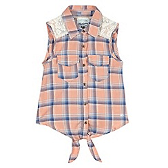 Mantaray - Girl's orange checked sleeveless shirt