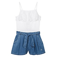 Mantaray - Girl's white broderie denim playsuit