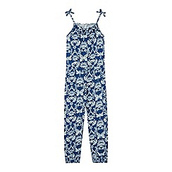 Mantaray - Girl's blue floral dragonfly jumpsuit