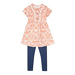 Mantaray - Girl's coral butterfly tunic and leggings set