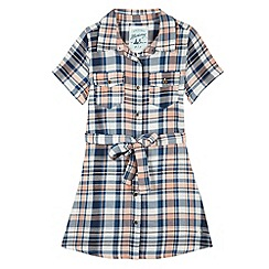 Mantaray - Girl's blue checked tie waist dress