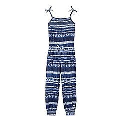Mantaray - Girl's navy aztec print jumpsuit
