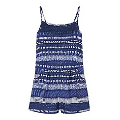 Mantaray - Girl's navy woven aztec playsuit