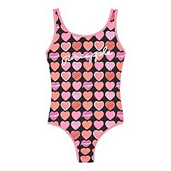 Pineapple - Girl's black heart swimsuit