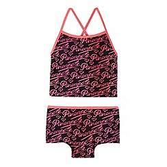 Pineapple - Girl's black graphic sketched tankini set