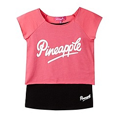 Pineapple - Girl's pink 2-in-1 layered top