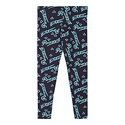 Pineapple - Girl's navy logo printed leggings