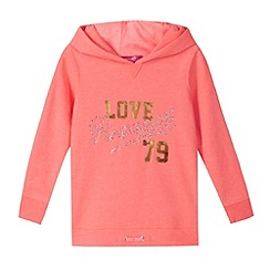 Pineapple - Girl's coral neon embellished hoodie