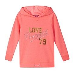 Pineapple - Girl's coral neon embellished hoodie