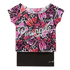Pineapple - Girl's pink shoe printed sequin layered top