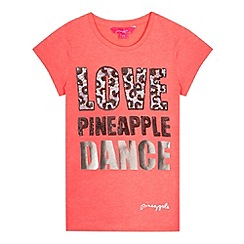 Pineapple - Girl's bright pink 'Love Pineapple Dance' t-shirt
