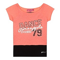 Pineapple - Girl's bright coral 2-in-1 'Dance 79' crop top and vest