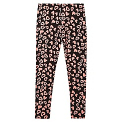 Pineapple - Girl's black heart printed leggings