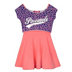 Pineapple - Girl's pink animal print top and dress set