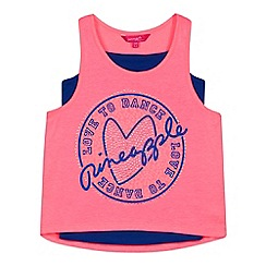 Pineapple - Girl's neon pink 'Love Dance' vest and camisole