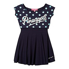 Pineapple - Girl's navy 2-in-1 star print crop top and skater dress