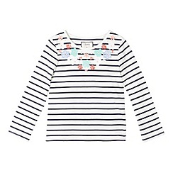 J by Jasper Conran - Designer girl's navy striped embellished top