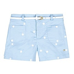 J by Jasper Conran - Designer girl's light blue embroidered belted shorts