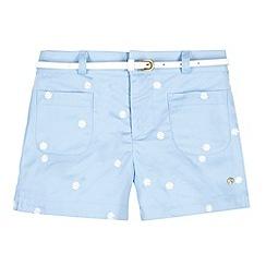 J by Jasper Conran - Designer girl's light blue embroidered belted shorts