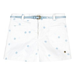J by Jasper Conran - Designer girl's white embroidered belted shorts