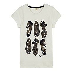 J by Jasper Conran - Designer girl's off white sequin shoe t-shirt