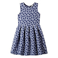 J by Jasper Conran - Designer girl's navy jacquard floral dress
