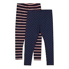 J by Jasper Conran - Pack of two designer girl's navy striped and spotted leggings